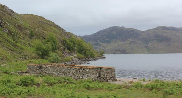 15 ruined chapel, Ruth walking along the shore of Loch Morar