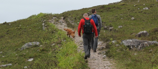 17 hikers on path, Ruth walking along the shore of Loch Morar