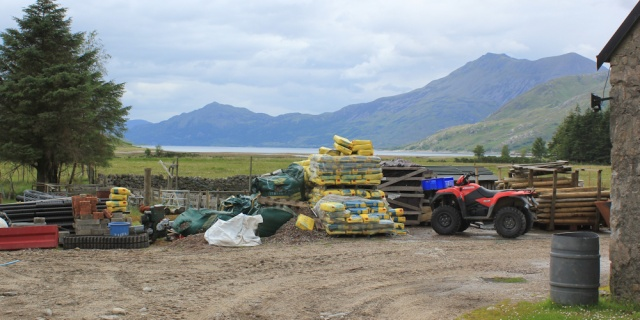 18 building materials by the Barrisdale Bothy, Ruth's coastal walk, Knoydart, Scotland