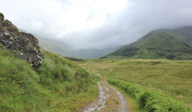 19 Inverie River valley, Ruth hiking across Knoydart, Scotland