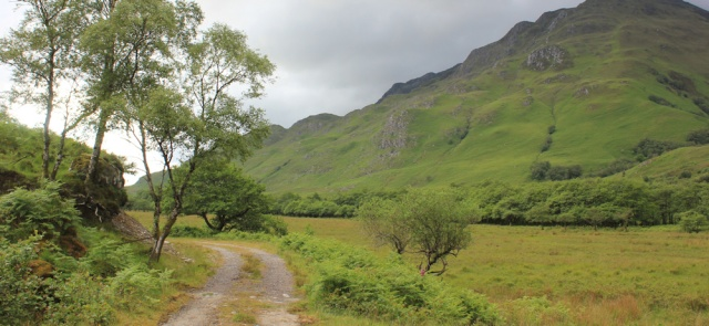 19 track along side of valley, Ruth walking down Glen Arnisdale to Corran