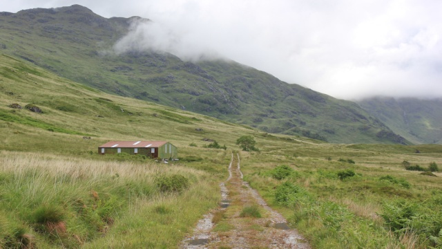 20 cattle barn, Ruth hiking across Knoydart, Scotland