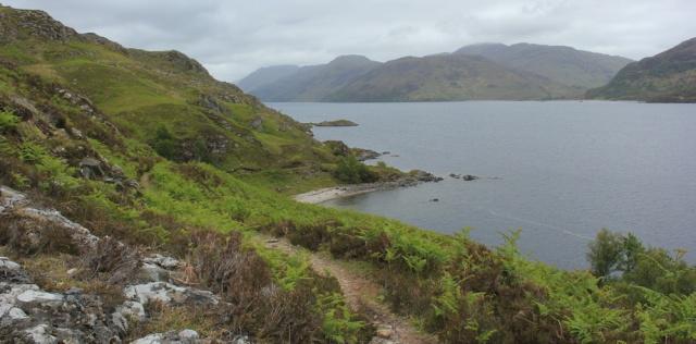 20 looking over Loch Morar, Ruth hiking around Scotland