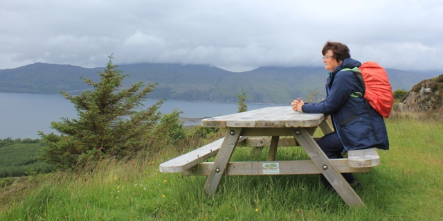 21 ruth at the viewpoint, hiking Scottish coast from Arnisdale to Sandaig