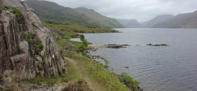 22 Loch Morar approaching Swordland, Ruth hiking around Scotland