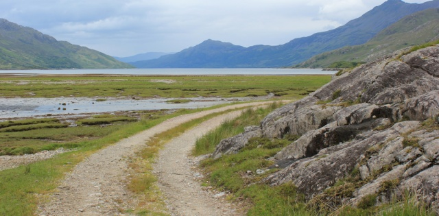 22 track to Barrisdale Bay, Ruth hiking across Knoydart, Scotland
