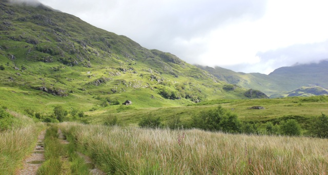 22 view up the valley and old cottage, Ruth hiking across Knoydart, Scotland