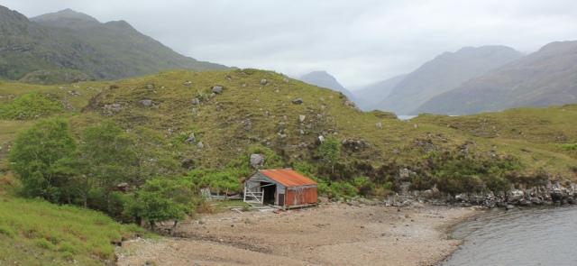 23 ruined building, Swordland, Ruth walking along the shore of Loch Morar