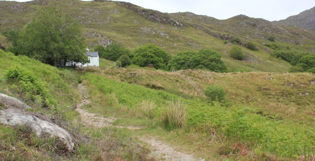 24 Swordland, Ruth walking along the shore of Loch Morar