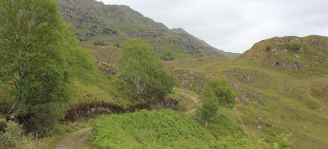 25 track turning inland,Ruth walking along the shore of Loch Morar