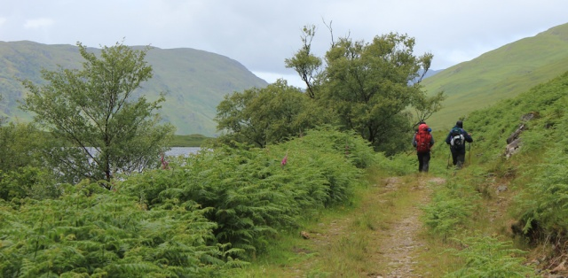 25 two hikers, Loch an Dubh-Lochain, Ruth trekking across Knoydart, Scotland