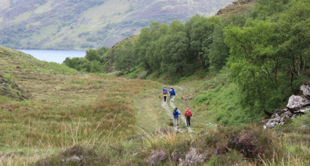 29 hikers walking over to South Tarbet Bay, Ruth Livingstone in Scotland