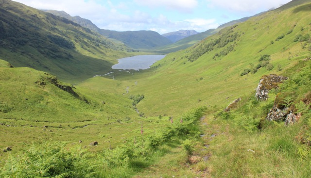 29 looking down Loch an Dubh-Lochain, Ruth walking across Knoydart Peninsula, Scotland