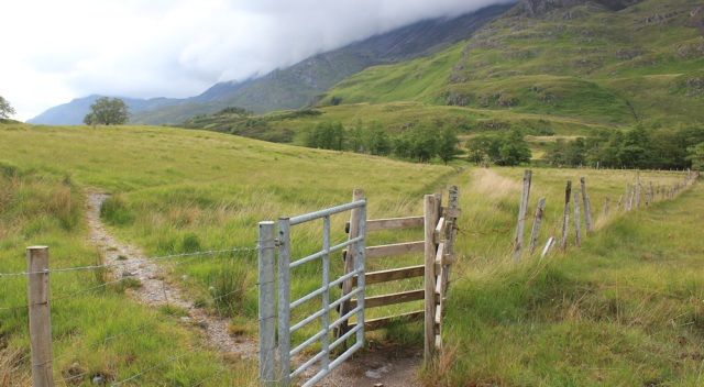 29 through a gate, Ruth walking down Glen Arnisdale to Corran