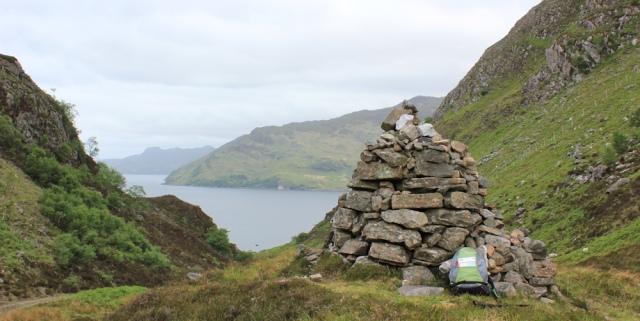 30 sheltering behind the cairn, Glen Tarbet, Ruth's coastal walk around Scotland