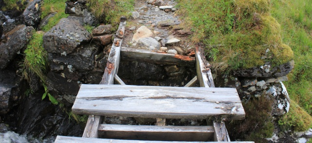 31 broken bridge, Ruth hiking across Knoydart, Scotland