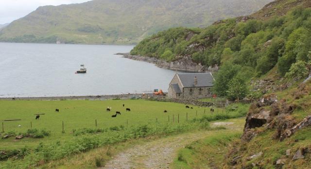 31 walking down to Tarbet Bay, Ruth hiking around Scotland