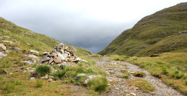 32 cairn at the top of the pass to Barrisdale, Ruth hiking across Knoydart, Scotland
