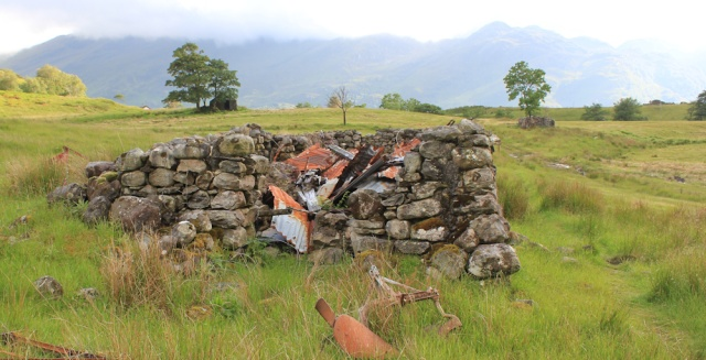 32 ruins and rust, Ruth walking down Glen Arnisdale to Corran