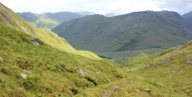 34 path down from Mam Barrisdale, Ruth hiking across Knoydart, Scotland