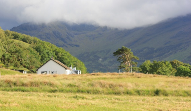 34 sunshine over Corran, Ruth walking down Glen Arnisdale, Scotland