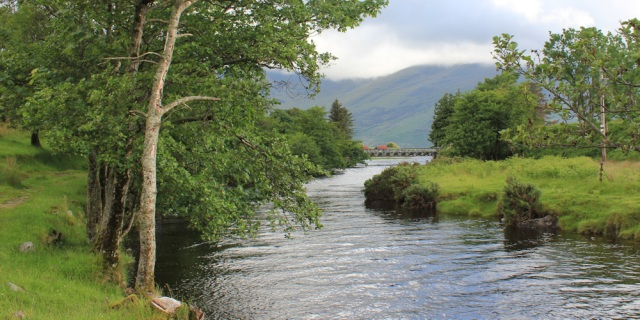 35 river leading to Corran, Ruth walking down Glen Arnisdale, Scotland