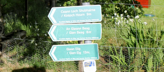 37 nine miles to Kinloch Hourn, Ruth walking down Glen Arnisdale to Corran