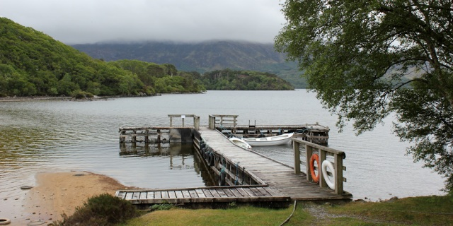 39 another jetty, Loch Morar, Ruth hiking around the coast of Scotland