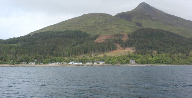 56 approaching Inverie, Ruth on the Tarbet Ferry, Scotland