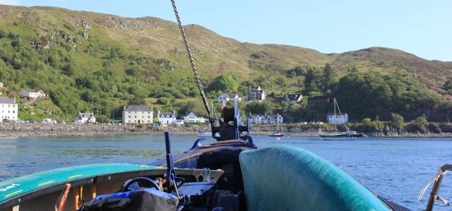 58 approach to Mallaig, Ruth on the Tarbet Ferry, Scotland