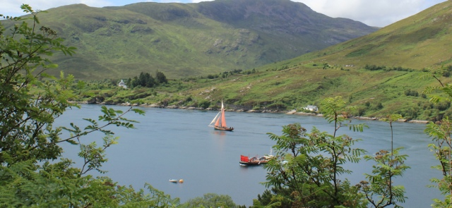 05 ferry and sailing ship, Kylerhea, walking round the coast of Glenelg, Scotland