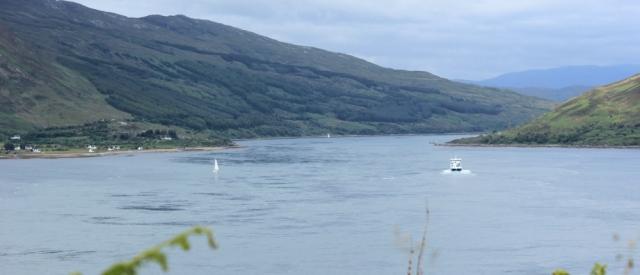27 first view of Kylerhea, Ruth hiking around the Glenelg peninsula