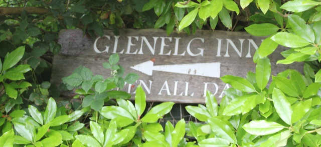 45 Glenelg Inn, open all day, sign, Ruth hiking through Scotland