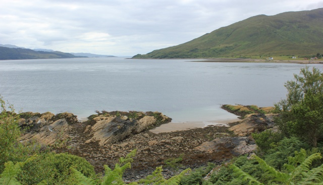 75 view down the Sound of Sleat, Ruth walking to the Kylerhea Ferry, Glenelg
