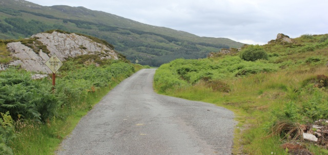 76 narrow road to Kylerhea ferry, Ruth's coastal walk around Glenelg peninsula, Scotland