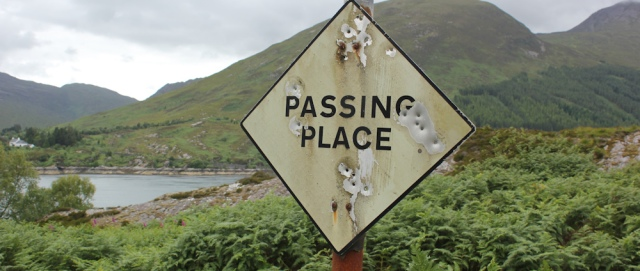 77 passing place sign, Ruth's coastal walk around Glenelg peninsula, Scotland