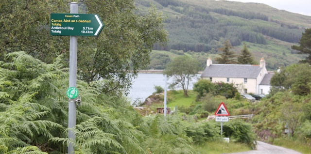 80 footpath sign for Ardintoul, Kylerhea Ferry, Ruth hiking the Scottish coast