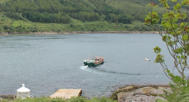 Kylerhea ferry going upstream, Ruth Livingstone
