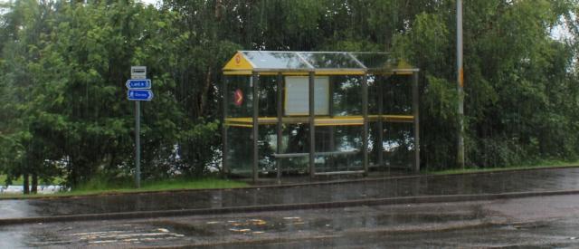 02 rainy bus stop, Eileen Donan Castle, Ruth's coastal walk around Scotland