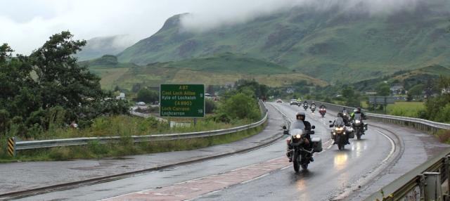 05 motorbikes on the A87, Ruth's coastal walk around Scotland