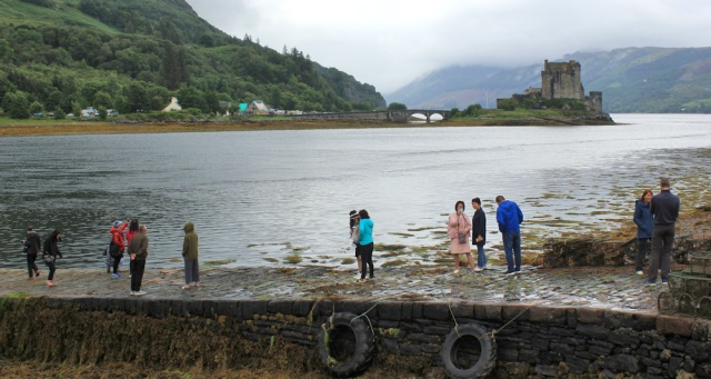 08 tourists taking photos, Eileen Donan Castle, Ruth's coastal walk around Scotland