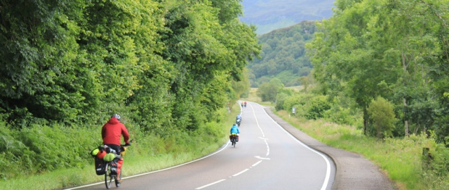 23 cyclists on the A87, Ruth's coastal walk around Scotland