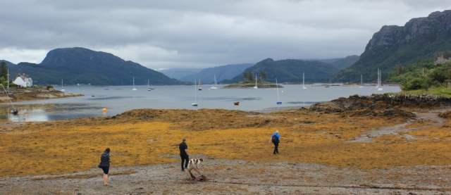 01 beach at Plockton, Ruth walking the coast of the Scottish Highlands