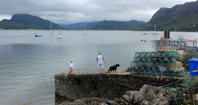 03 pier for boat trips, Plockton, Ruth walking the coast of the Scottish Highlands