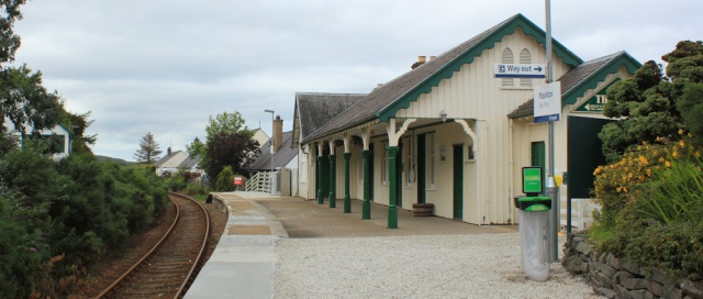 06 Plockton station, Ruth walking the coast of the Scottish Highlands