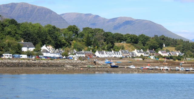 07 Plockton from the footpath, Ruth hiking round the coast of Scotland
