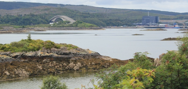 13 Skye Bridge and industial wharf, Ruth hiking to Plockton, Scotland