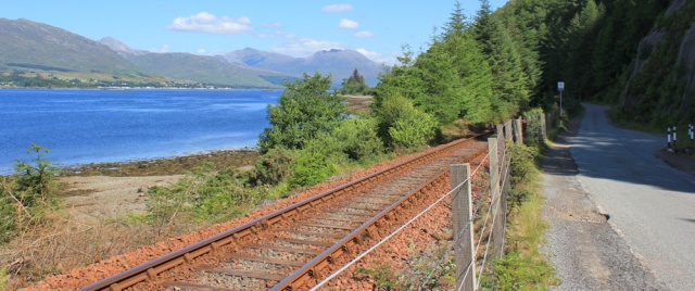 13 walking by the railway, Ruth walking the shore of Loch Carron