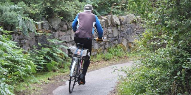 19 cyclist on cycle path, Ruth crossing Skye Bridge, coastal walk