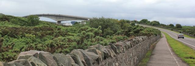 20 nearly at the bridge, Ruth crossing Skye Bridge, coastal walk